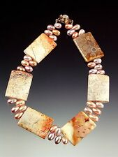 CLEARANCE SALE -BESS HEITNER PINK PEARL FOSSILIZED CORAL COLLAR