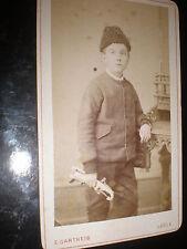 Cdv old photograph boy pistol gun by Gartheis Locle Switzerland c1880s