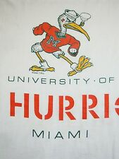 Vintage University of Miami Hurricanes UM College Football White T Shirt M