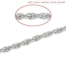 Link Chains Braiding Silver Tone 6.5mm x 4.5mm,3M SP0363