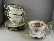 4 Schumann Bavaria China Briar Rose Cup and Saucer Sets