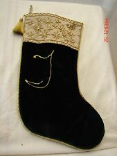 "*Green With Gold Trim and the Letter ""T"" Christmas Stocking"