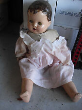 """Vintage 1940s Composition Cloth Baby Girl Character Doll 20"""" Tall #2"""