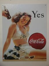 """Vintage Style """"Yes Coca-Cola"""" Metal Sign Man Cave Garage Office Decor S47"""
