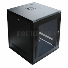 "12U Wall Mount IT Server Network Cabinet Rack Enclosure Glass Door Lock 18"" Deep"