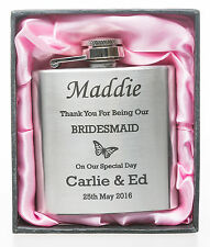 Personalised 3oz WEDDING BUTTERFLY Hip Flask in Pink Gift Box For Bridesmaid