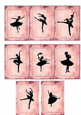 Vintage inspired pink small note cards ballerina set of 8 scrapbooking