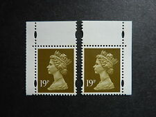 GB 19p bistre left and right bands Machin stamps S.G. Y1771/Y1771a (MNH)