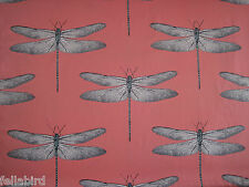 """HARLEQUIN CURTAIN FABRIC """"Demoiselle"""" 1.1 METRES CORAL AND MINT DRAGONFLY DESIGN"""