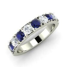 1.13 Ct Natural Blue Sapphire and Diamond 14k White Gold Anniversary Band / Ring