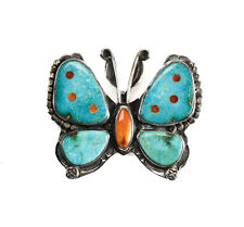 Vintage Valerie Benny Aldrich Sterling Silver Turquoise Agate Butterfly Brooch