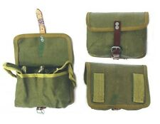 VINTAGE ARMY SURPLUS AMMO POUCH FITS ANY BELT CANVAS + LEATHER cartridge bag