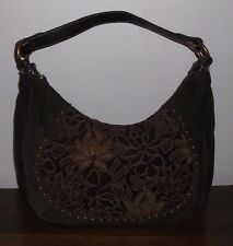 THE SAK Brown Knit, Suede, Tapestry HOBO SHOULDER BAG ~ Excellent Cond.