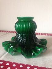Antique Victorian British Racing Green Ruffled Fluted Glass Lamp Lightshade