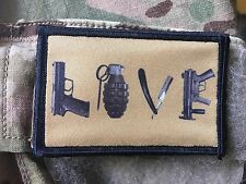 Love Weapons Morale Patch Tactical ARMY Hook Military USA Badge Flag 556  1911