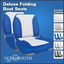 Deluxe Blue/White Folding Boat Seats x 2