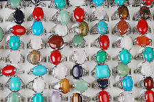 Wholesale Jewelry Lots 10pcs Turquoise Gemstone Silver P Metal Rings New
