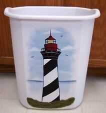 HAND PAINTED LIGHTHOUSE WASTE PAPER BASKET/NEW BY MB