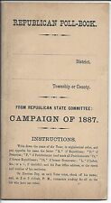 Republican Poll Book, Campaign of 1887, From Republican State Committee
