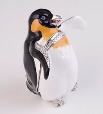 Penguin Faberge trinket box hand made by Keren Kopal with Austrian crystals