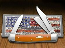 CASE XX Smooth Persimmon Orange Bone Stockman Stainless Pocket Knives Knife