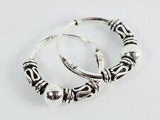 "925 Silver Bali Tribal Fashion Earring Hoops Accesssories for Women 1/2"" 12mm"
