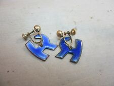Vtg copper enameled signed Malvina earrings. Monogram R. Blue