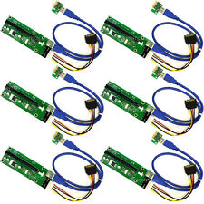 6X (6-Pack) Version 6 PCI-E Express 1X to 16X 60cm USB Riser Adapter w/ SATA