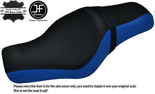 ROYAL BLUE & BLACK CUSTOM FOR HARLEY SPORTSTER 883 1200 TWO UP VINYL SEAT COVER