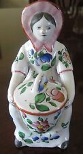 French Faience Salt Cellar Mustard Hand Painted Porcelain Lady Pot Vintage