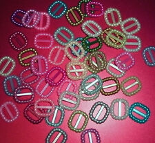 50 tiny oval Plastic buckles, doll sewing clothes belts crafts. Pearly, metallic