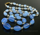 """ANTIQUE VICTORIAN FRENCH OR CZECH BLUE OPAL OPALESCENT GLASS BEAD NECKLACE 27"""""""