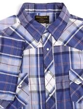 Rustler by Wrangler Mens Short Sleeve Shirt 3XL Pearl Snaps Blue Purple Plaid