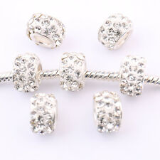 Hot  5/20Pcs Silver Plated Round Crystal Spacer Czech Charms Beads Craft DIY 5mm