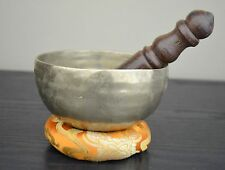 "Antique Hand Hammered Singing Bowl Nepal Free Cushion-Mallet 4.8"" FREE SHIPPING"