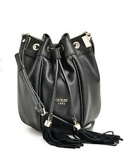 GUESS Solene Crossbody Bucket Bag Handbag Purse Black w/ tassels
