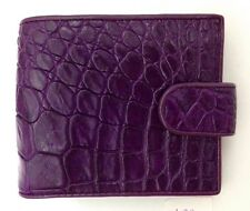 100% Genuine crocodile skin leather bifold men women purple wallet