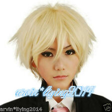 Fashion men boy Butler Alois Trancy Straight Short Blonde Cosplay Anime Wigs/cap