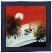 "Chinese painting crane landscape 16x16"" brush ink watercolor small red art"