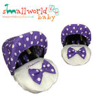 Baby Car Seat Footmuffs Covers Personalised Purple & White Polka inc Pads & Bow