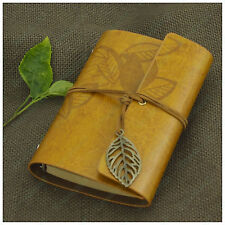 Portable Journal Leaves Leather Refillable Personalized Notebook Diary Goldenrod