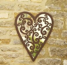 Heart of Hearts Garden Mirror Heart Shaped Antique Style Decorative Wall Mirror