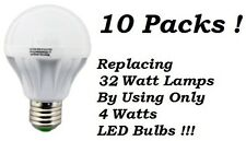 10 Pack 4 Watt LED 110V Light Bulbs = 32 Watt Replacement Energy Saving 80% Bulb