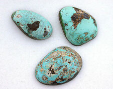 33.70 Carat OLD STOCK Backed 3 Freeform Natural Turquoise Cabochon Gem ES5294OTH