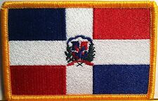 REP DOMINICANA Flag Military Patch With VELCRO® Brand Fastener Gold Border #9
