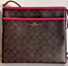 NWT Coach 34938 File Bag Sign Coated Canvas Crossbody handbag Brown / Pink Ruby