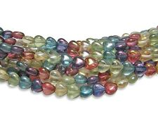 6mm Gemtone Luster Czech Glass Flat Heart Beads (35) #5385