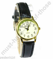 Ladies Watch, Easy Read Glow in The Dark Dial, Black Leather Strap, Gold Tone