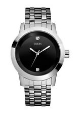 Guess U11576G1 Men's Diamond Silver Tone Stainless Steel Band Black Dial Watch