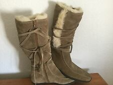 CAMI Women's Taupe Genuine Suede Laced Fur Lined Mid Calf Tall Boots 8.5 NWOB!